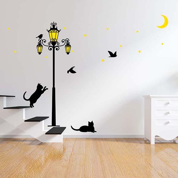 Glowing Street Light Cats Wall Sticker