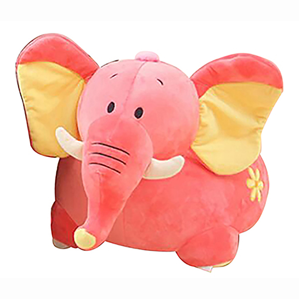 Plush Elephant Riding Chair Pink