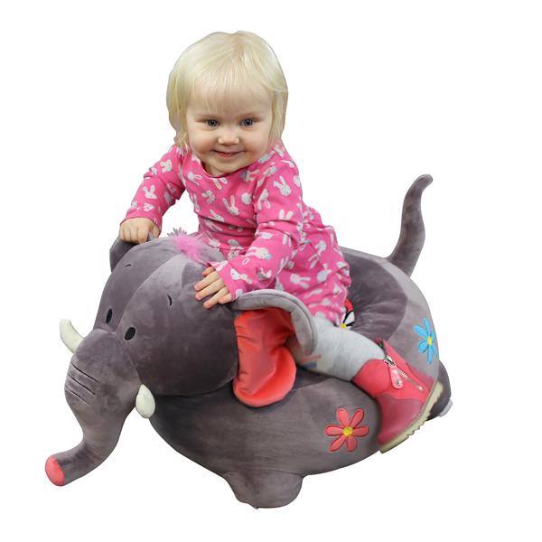 Plush Elephant Riding Chair Grey-0