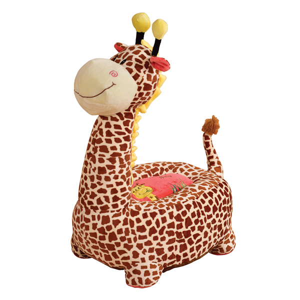 Plush Giraffe Riding Chair Brown