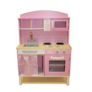 Pink Gingham Wooden Kitchen-0