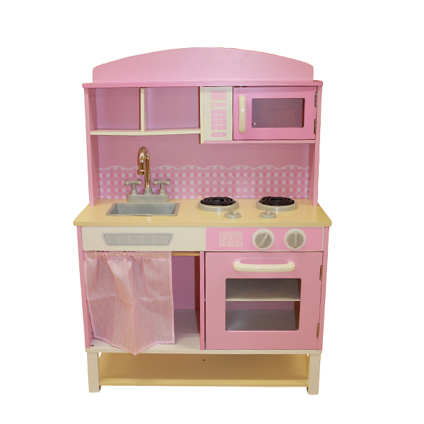 Pink Gingham Wooden Kitchen-0