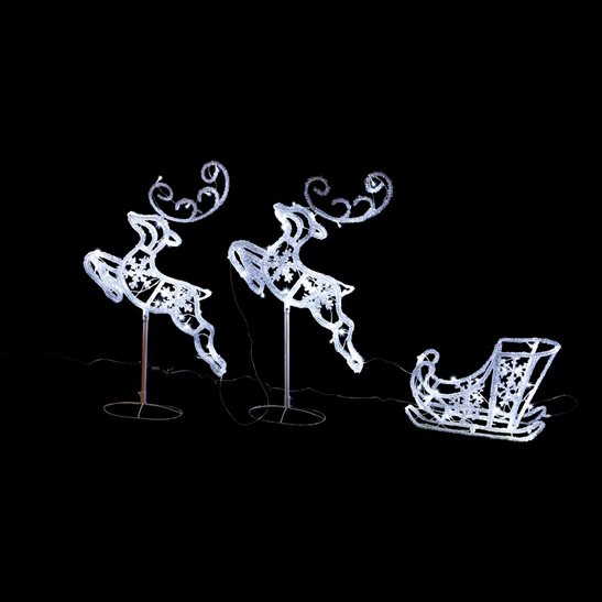 Christmas LED Acrylic Reindeer & Sleigh Christmas Light