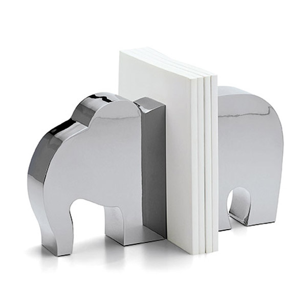 Silver Finish Elephant Bookends