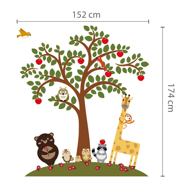 Animal Friends Tree Wall Sticker
