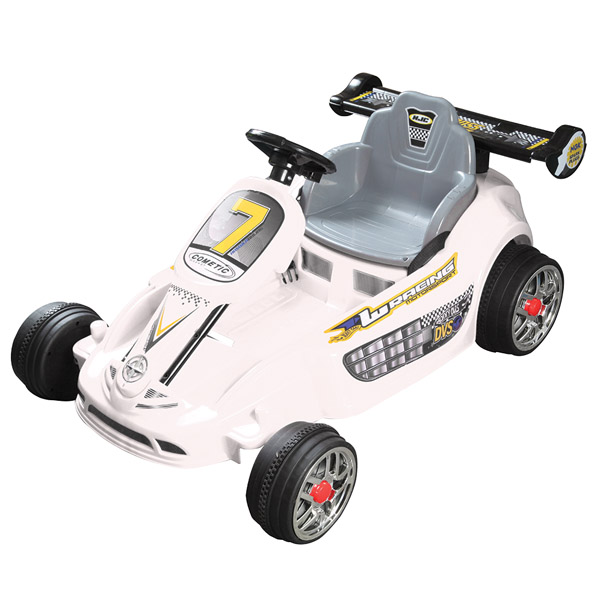 Go Kart Style Ride on Car - White-0