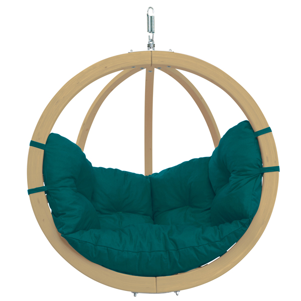 Globo Single Hanging Chair Green Weatherproof-0