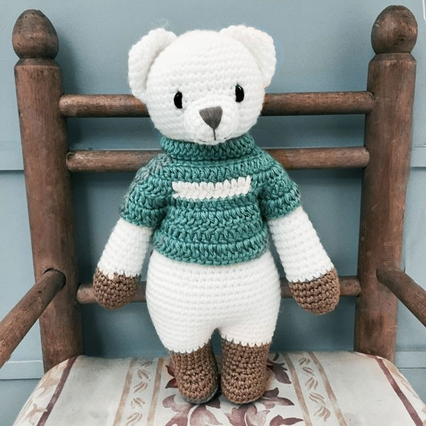 Bear Knitted Soft Toy Blue-8287