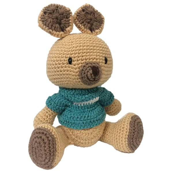 Kangaroo Knitted Soft Toy Blue-0
