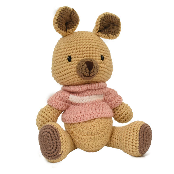 Kangaroo Knitted Soft Toy Pink-0