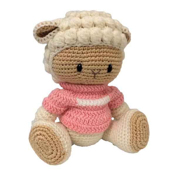 Sheep Knitted Soft Toy Pink-0