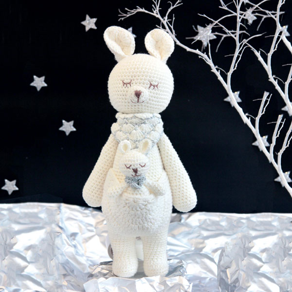 Kangaroo Knitted Soft Toy White-0