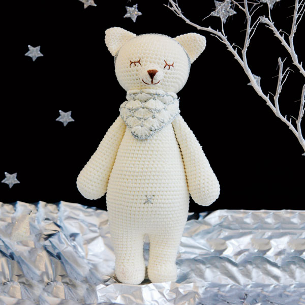Fox Knitted Soft Toy White-0