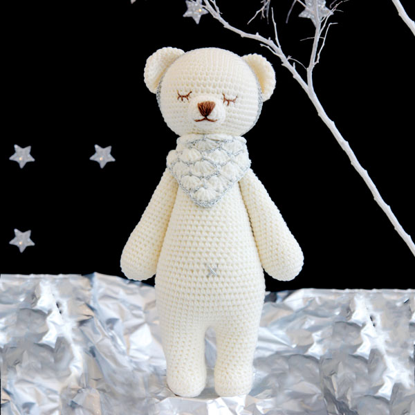 Bear Knitted Soft Toy White-0