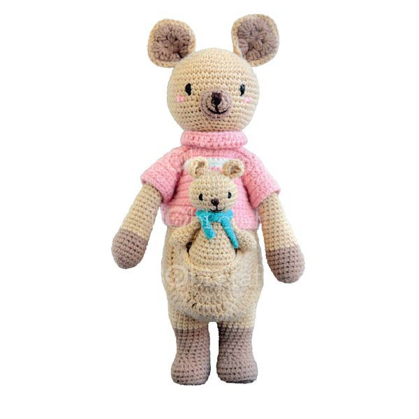 Kangaroo Knitted Soft Toy-0