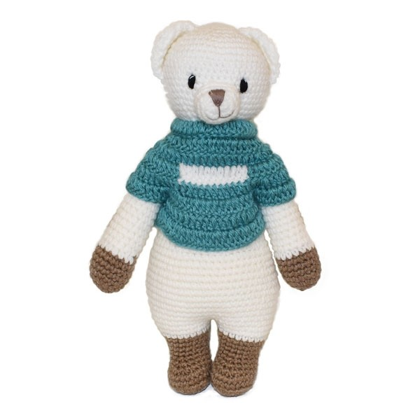Bear Knitted Soft Toy Blue-0