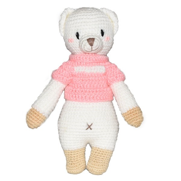 Bear Knitted Soft Toy Pink-0