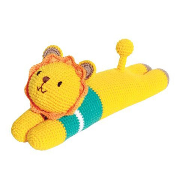 Laying Lion Knitted Soft Toy Blue-0
