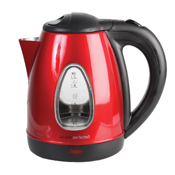 Red 1.7L Steel Body Cordless Kettle-0