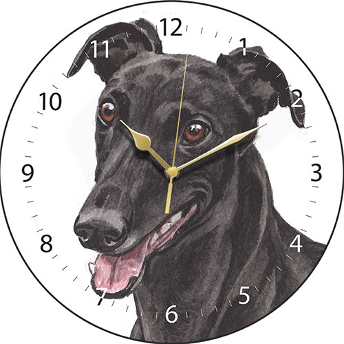 Black Greyhound Wall Clock