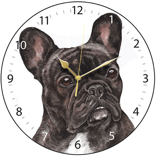 Black French Bulldog Wall Clock-0