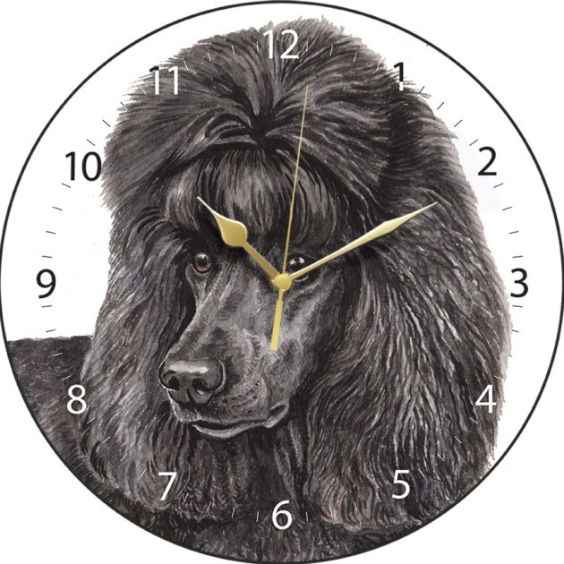 Black Standard Poodle Wall Clock