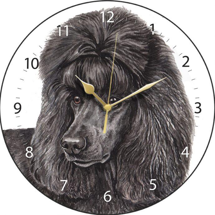Black Standard Poodle Wall Clock