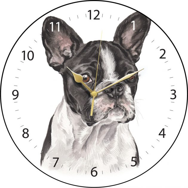 Black and White French Bulldog Wall Clock
