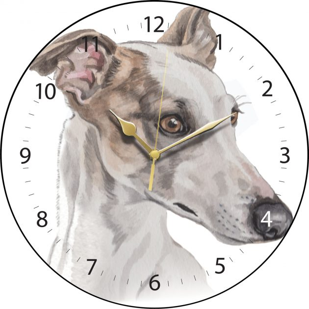 White Greyhound Wall Clock