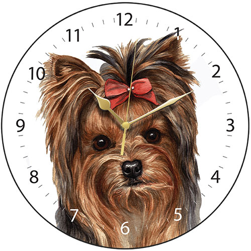 Yorkshire Terrier Bow Wall Clock