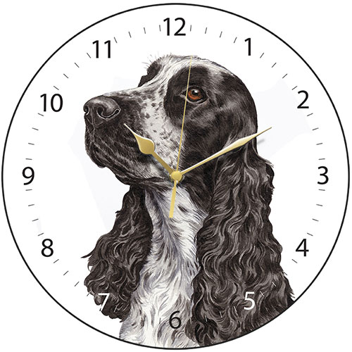 Black and White Cocker Spaniel Wall Clock-0