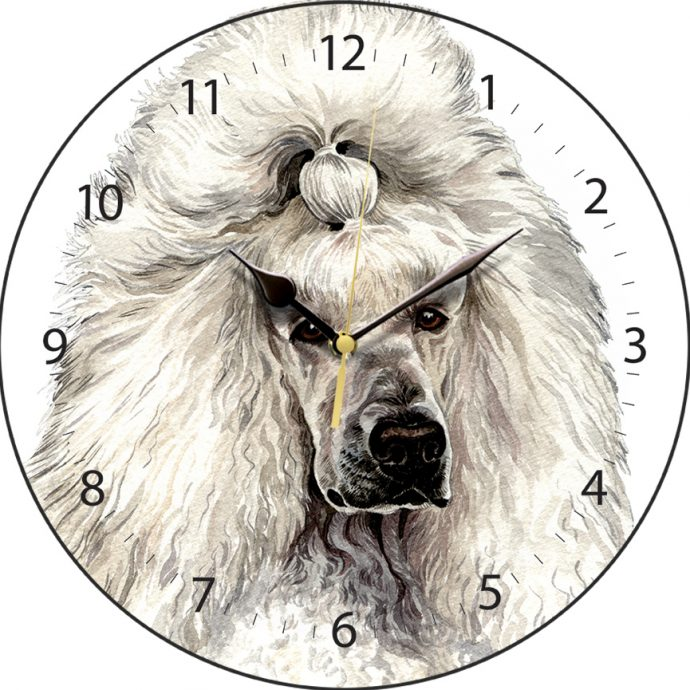 White Standard Poodle Wall Clock