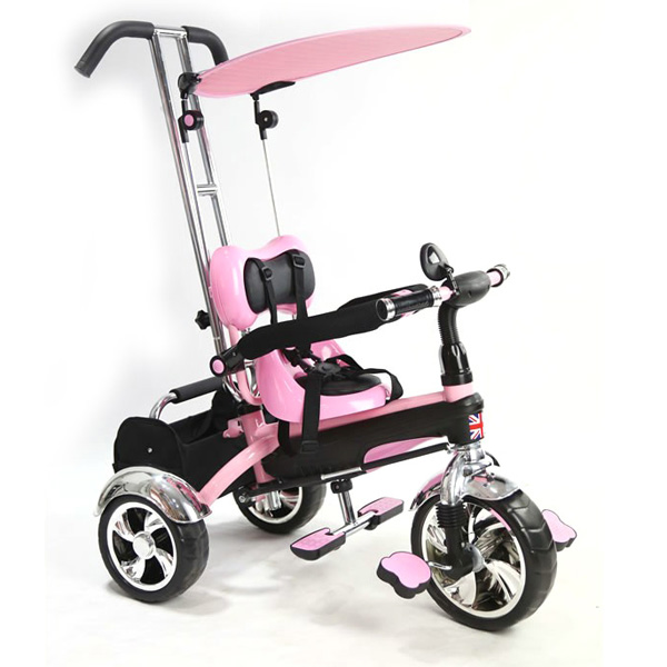 Baby Multi Function Pink Tricycle-0