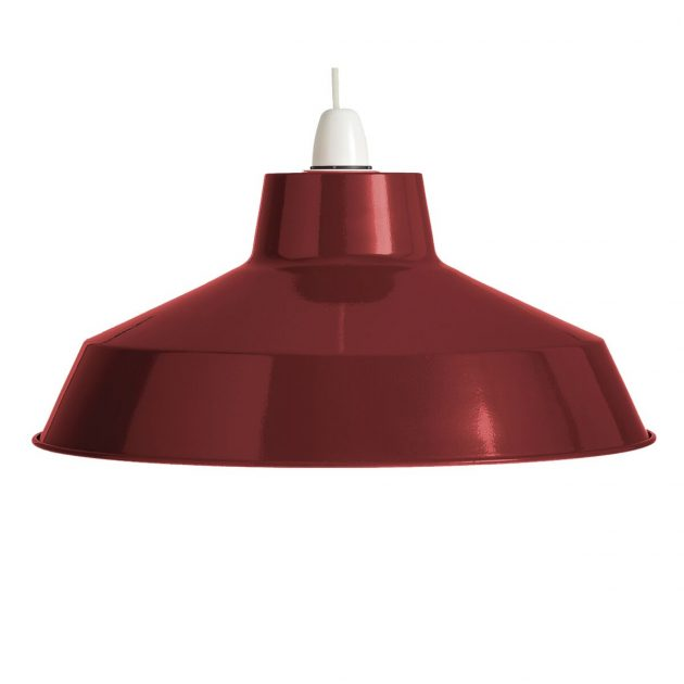 "Metal 14"" Burgundy Lampshade-0"