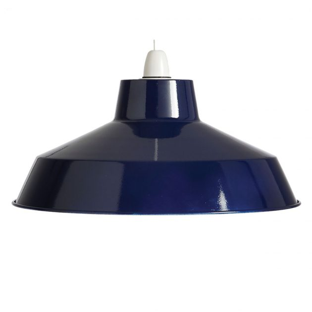 "Metal 14"" Navy Blue Lampshade-0"
