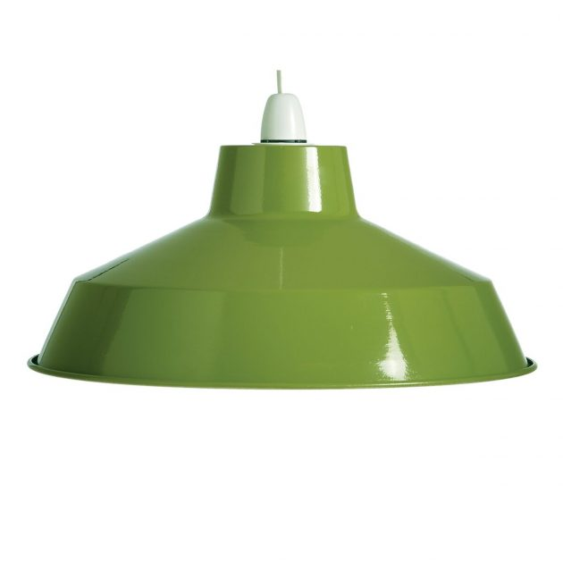 "Metal 14"" Green Lampshade-0"
