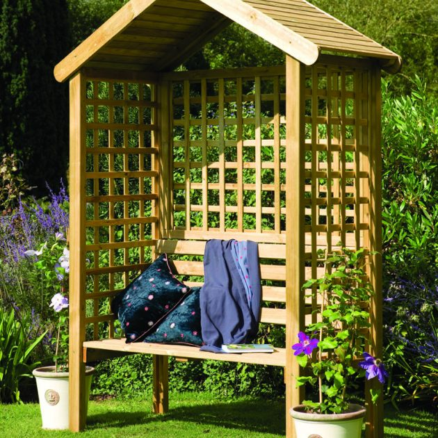 Wooden Trellis Arbour Bench-0