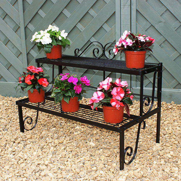 Solid Steel Two Tier Pot Stand