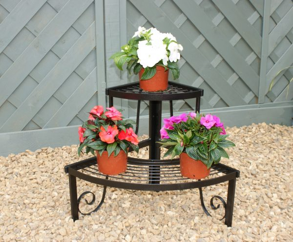 Solid Steel Two Tier Corner Pot Stand-0
