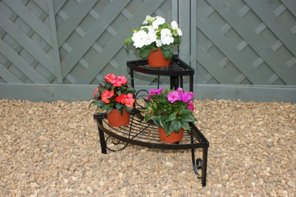 Solid Steel Two Tier Corner Pot Stand-9542