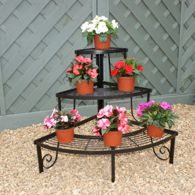 Solid Steel Three Tier CornerPot Stand -0