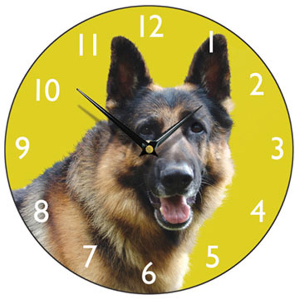 Alsatian Dog Wall Clock - Olive