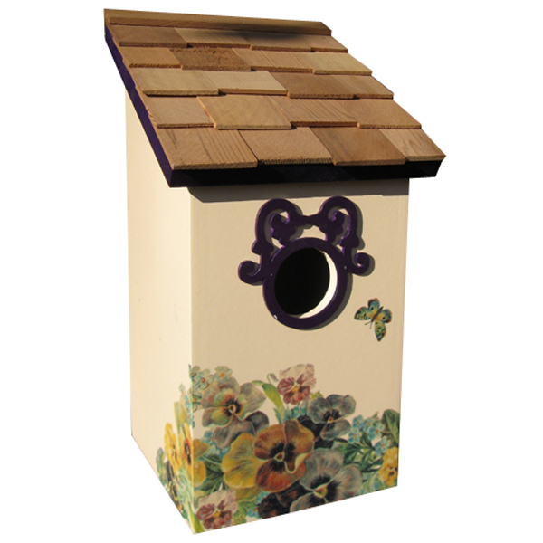 Printed Butterfly Plum Saltbox Bird House