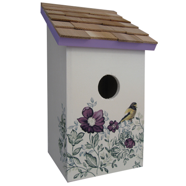 Printed Anemone Saltbox Bird House
