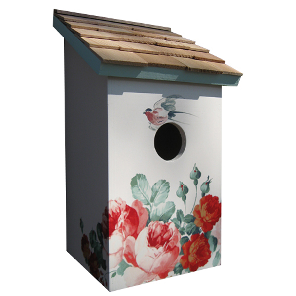 Printed Peony Saltbox Bird House