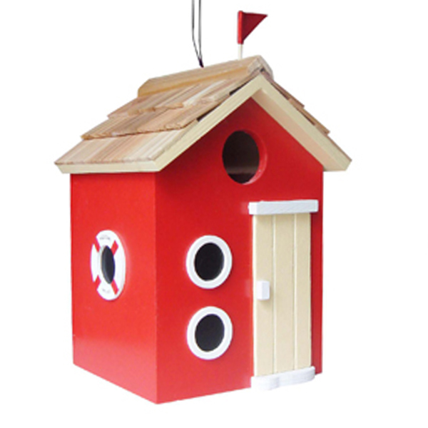 Red Beach Hut Bird House
