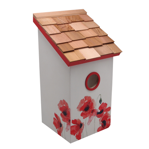 Printed Poppy Saltbox Bird House