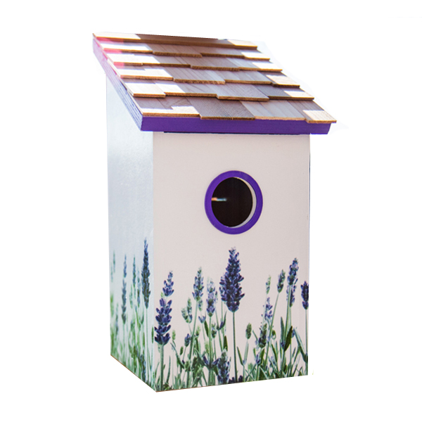 Printed Lavender Saltbox Bird House