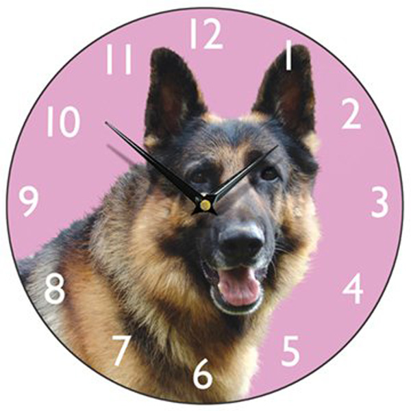 Alsatian Dog Wall Clock - Pink-0