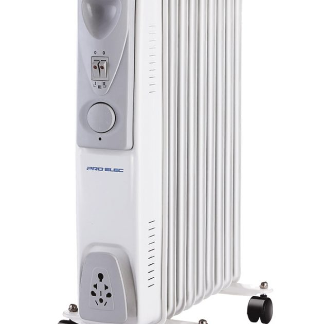 9 Fin 2kW Oil Filled Radiator Heater - White-0